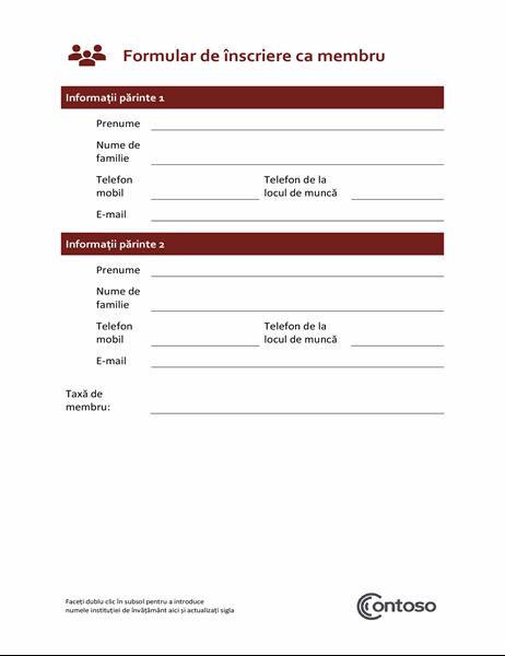 Formular de înscriere ca membru
