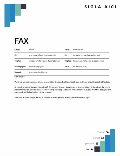 Pagină de însoțire fax trepte albastre