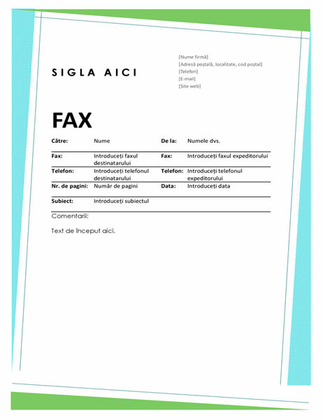 Pagină de însoțire fax cu modele geometrice