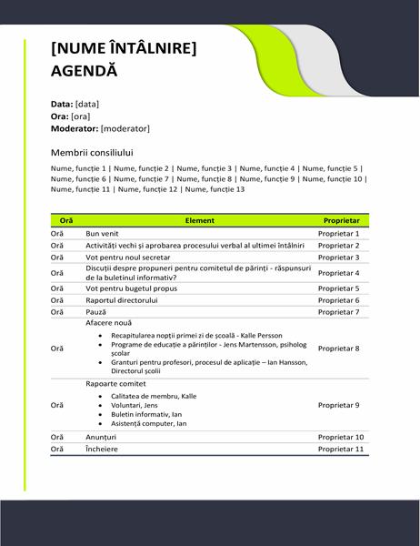 Agendă de întâlniri în domeniul educației