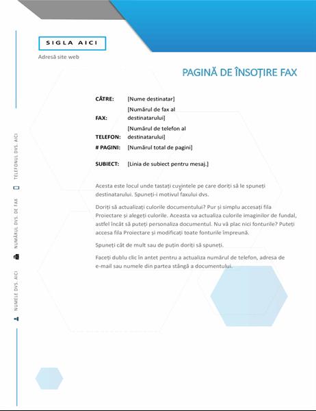 Pagină de însoțire hexagonală