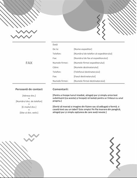 Pagină de însoțire fax alb-negru anii '80