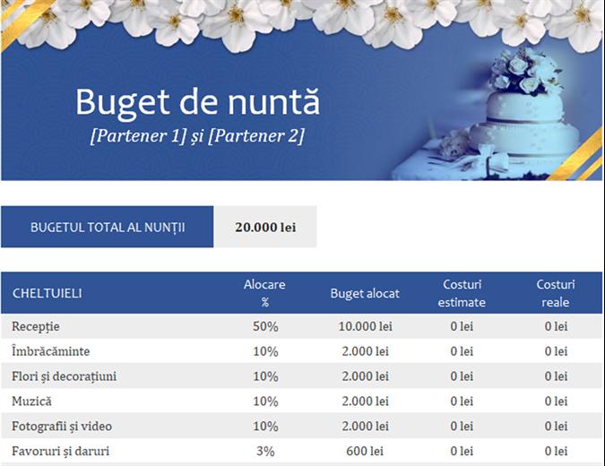 Monitor al bugetului de nuntă