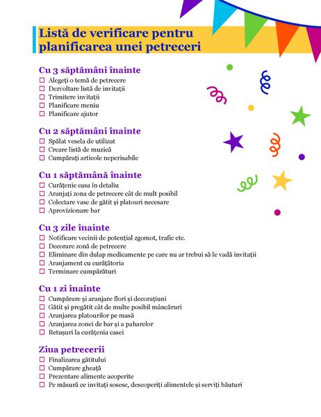 Listă de verificare pentru planificarea unei petreceri