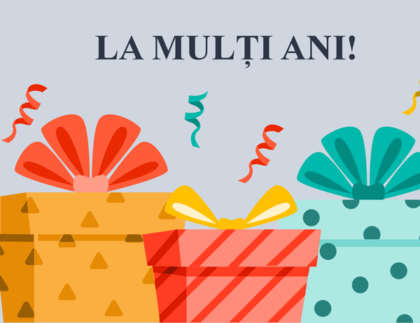 Felicitare cu ocazia zilei de naștere veselă și cu cadouri