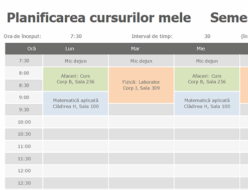 Planificare cursuri