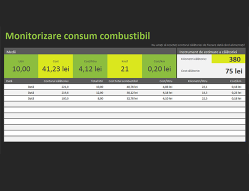 Monitorizarea consumului de combustibil