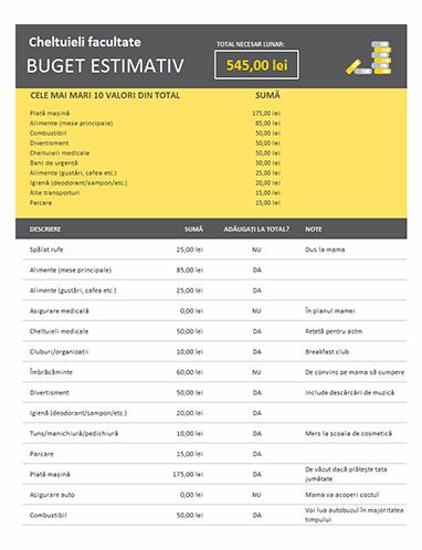 Buget estimativ de cheltuieli facultate