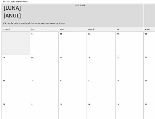 Calendar de teme pentru acasă