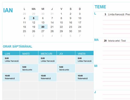 Calendar pentru elevi/studenți