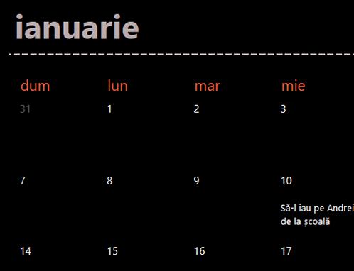 File de calendar permanent (negru)