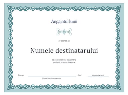 Certificat pentru Angajatul lunii (proiect cu lanț albastru)