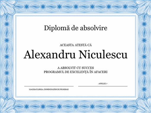 Diplomă de absolvire (albastră)