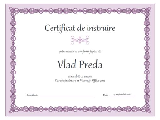 Certificat de instruire (proiectare cu lanț violet)