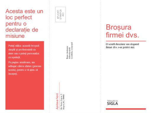 Broșură medicală, de firmă, cu trei pagini (proiectare roșie, albă)