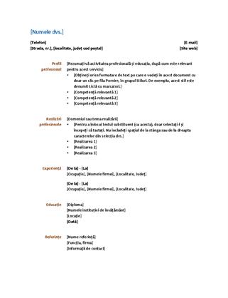CV (design funcțional)