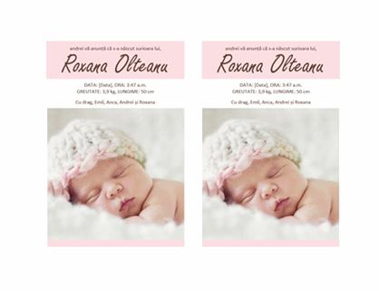 Anunț pentru nașterea unei fetițe