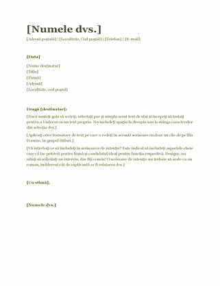 Scrisoare de intenție pentru CV (verde)