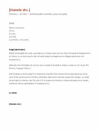 CV și scrisoare de intenție (în ordine cronologică)