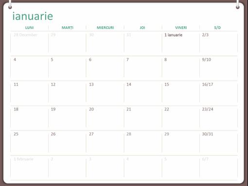 Calendar clasic de perete (luni-duminică, proiect cu două inele)