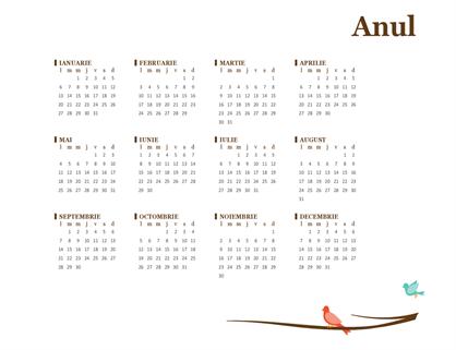Calendar anual pentru păsări (luni-duminică)