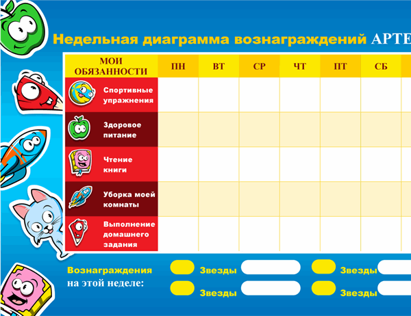 Диаграмма вознаграждений для детей