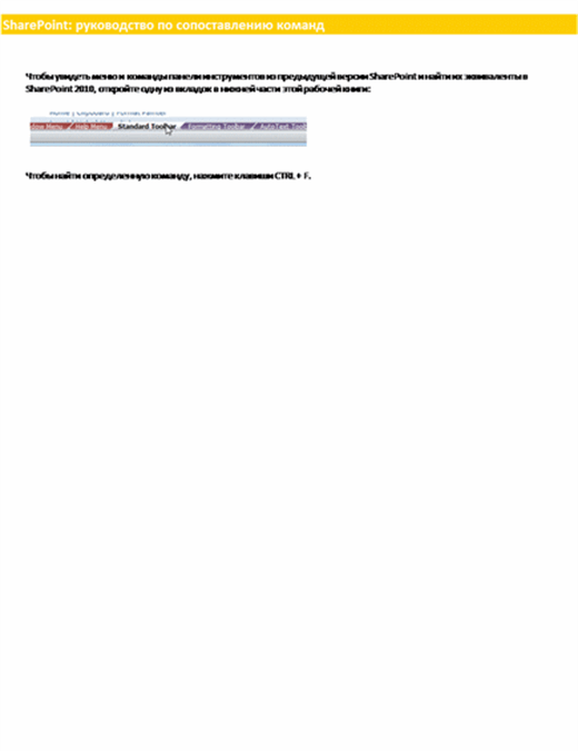 Книга сопоставления команд на ленте для SharePoint Server