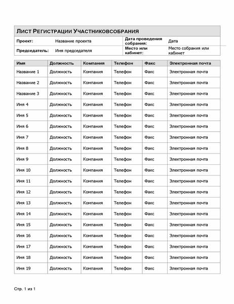 Лист регистрации участников собрания