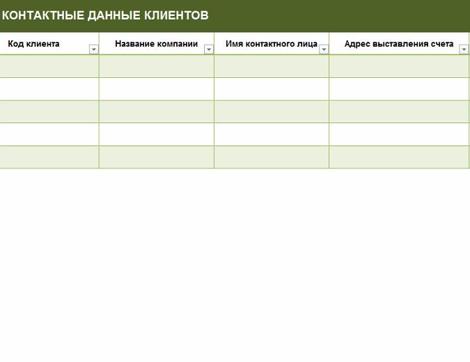 Простой список контактов: клиенты