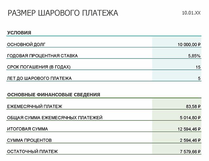 Расчет размера шарового платежа