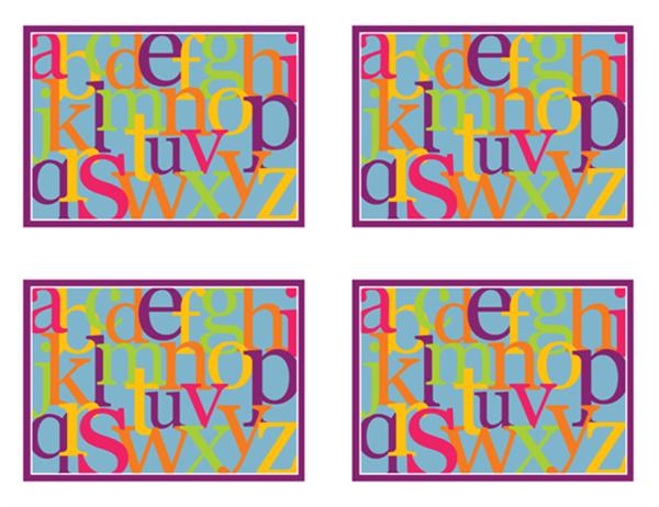 """Карточки """"Английский алфавит"""" (оборотная сторона; соответствует Avery 3263, 8387)"""