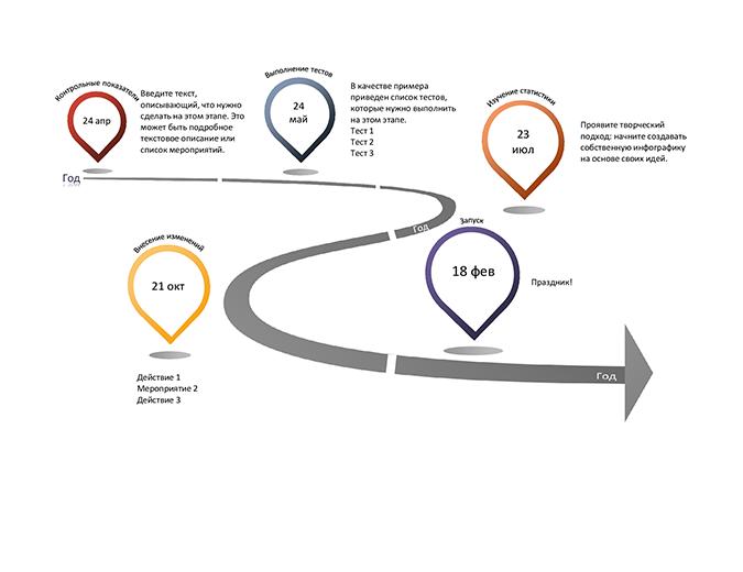 Инфографическая временная шкала с вехами