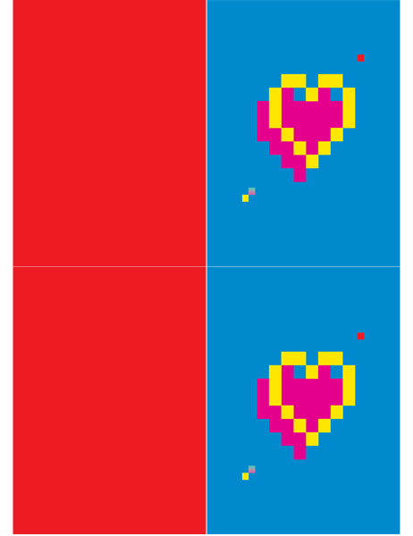 Открытка на день святого Валентина с пиксельным сердечком