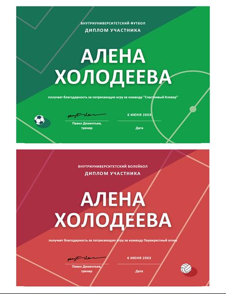 Четыре спортивные почетные грамоты