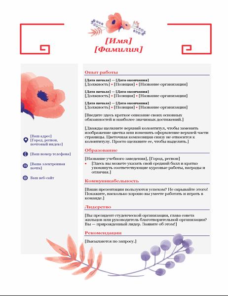 Резюме (цветочная композиция в розовых тонах)