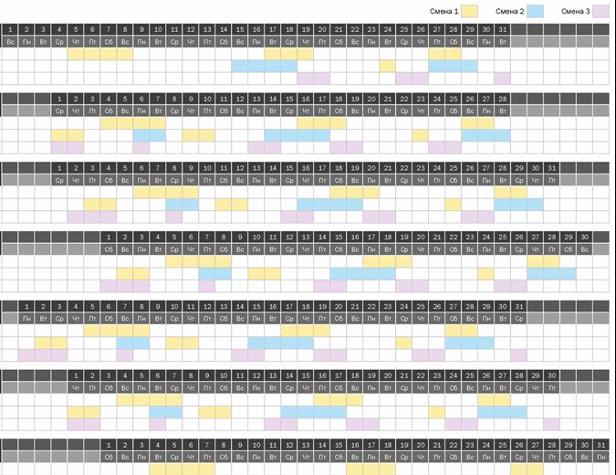 Календарь сменной работы