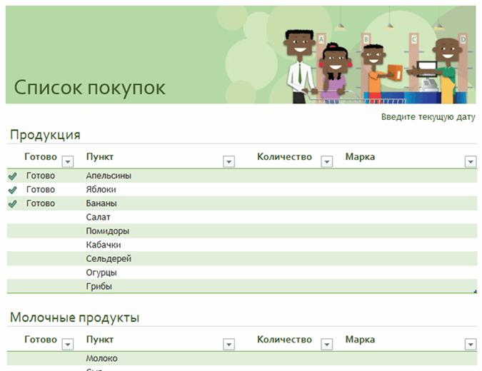 Список покупок с местом для указания торговых марок