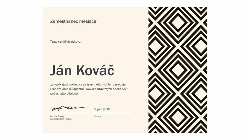 Diamantový diplom pre zamestnanca mesiaca