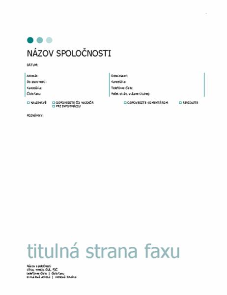 Titulná strana faxu (bodky)