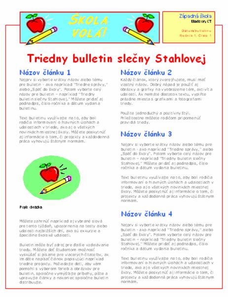 Triedny bulletin (2 stĺpce, 2 strany)
