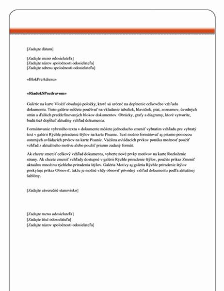 List hromadnej korešpondencie (motív solídneho štýlu)