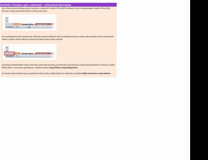 Zmena ponúk programu InfoPath 2010 na pás s nástrojmi – referenčný pracovný zošit