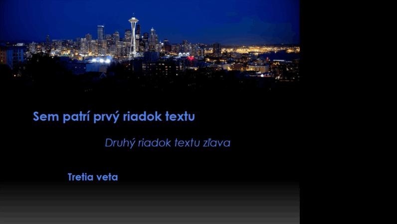Panoramatická snímka Seattlu, na popredí ktorej sa pohybuje animovaný popis meniaci farbu