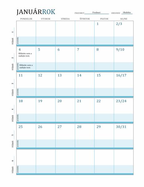 Kalendár plánov hodiny