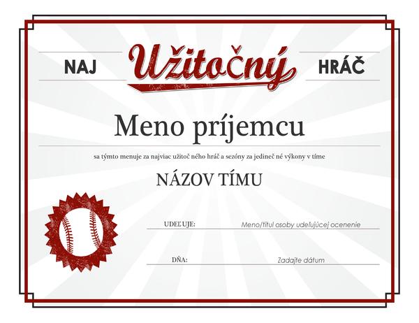 Certifikát socenením pre najužitočnejšieho hráča