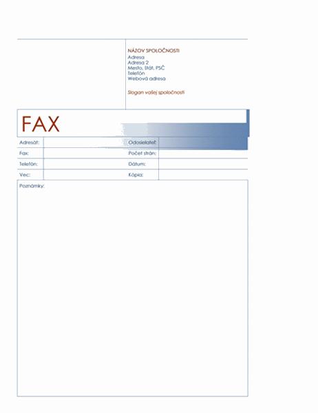 Titulná strana faxu (modrý motív)