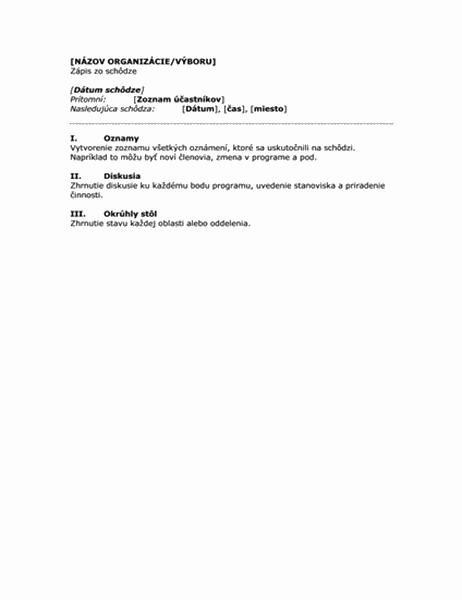 Zápis zo schôdze organizácie (krátka verzia)