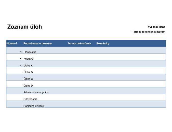 Zoznam úloh pre projekty