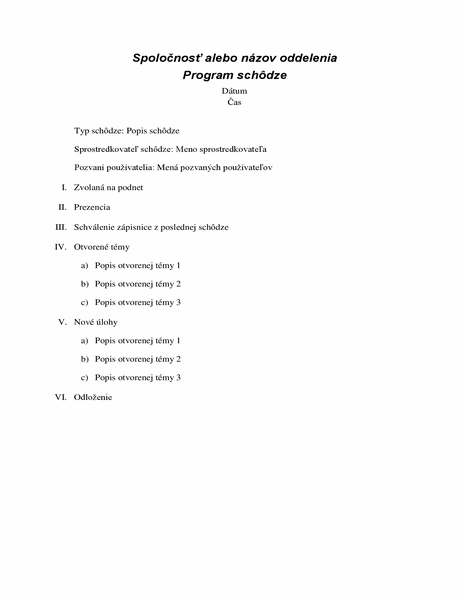 Program formálnej schôdze