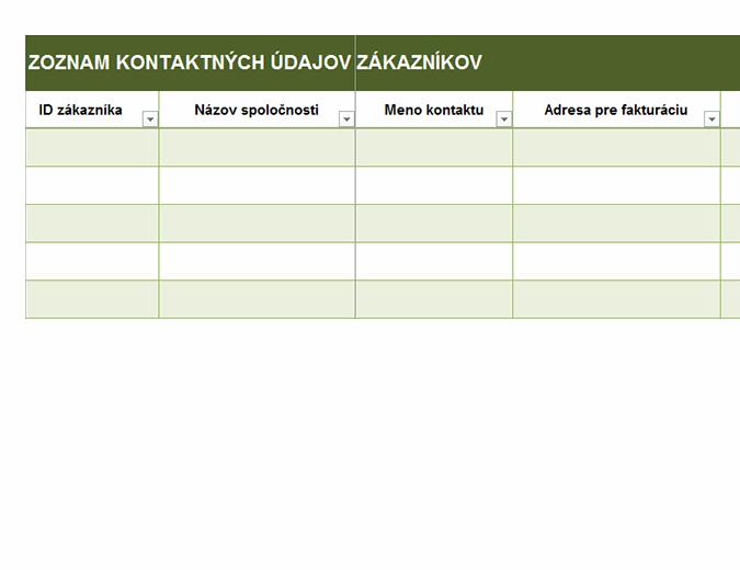 Základný zoznam kontaktných údajov zákazníkov